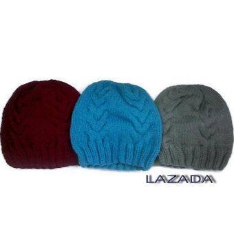 Handmade หมวกไหมพรม3ใบสีแดงเข้มสีฟ้าและสีเทา ลาย 02