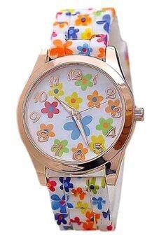 BlueLans วุ้นดอกไม้นาฬิกาข้อมือรัดพิมพ์ซิลิโคน (หลายสี)