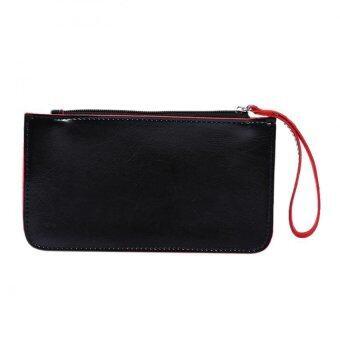 สตรีกระเป๋าสตางค์หนัง Pu คลัตช์แบบผู้หญิงที่เก็บบัตรประชาชนเงินกระเป๋าถือสีดำ