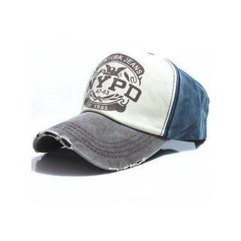 5 ดาวสไตล์วินเทจลายหมวกตะหมวกเบสบอลผ้าปรับได้ (สีเทา)