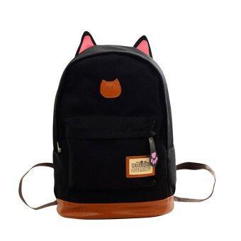 กระเป๋าเป้เด็กหูแมวน่ารักผ้ากระเป๋าสะพายเป้ท่องเที่ยวกลางแจ้งโรงเรียนสีดำ-ระหว่างประเทศ