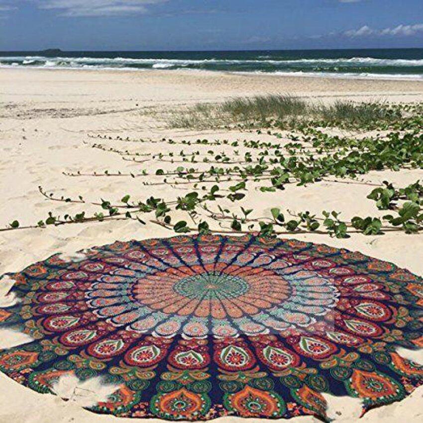 Indian Mandala Tapestry Summer Beach Towel Hippie Picnic Blanket Yoga Throw Mat Khaki - Intl
