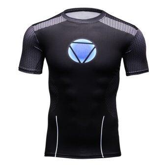 Iron Man Logo Men Compression Short Shirt Top For Sport Fashion