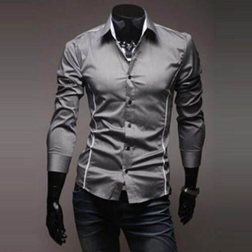 JOOX British Slim trend shirt hit color long-sleeved shirt(Gray)