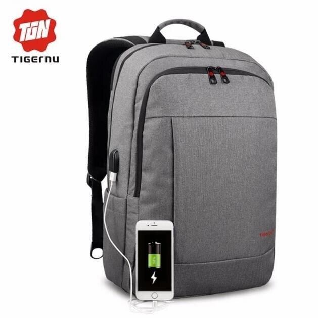 Joy Anti-thief Backpack for 12-17inches Laptop With External USB Charging Port-Grey - intl