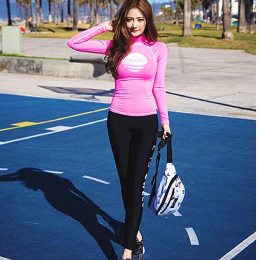 KK ชุดว่ายน้ำแนวสปอร์ต 3 ชิ้น (กางเกงขายาว+กางเกงชั้นใน+เสื้อแขนยาว) รุ่น 821 (สีชมพู)