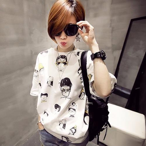 KK เสื้อยืดแฟชั่นผู้หญิง คอกลม แขนสั้น (สีขาว) สกรีนลายการ์ตูน รุ่นYM-873