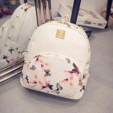 กระเป๋าลายดอกผีเสือสีขาว