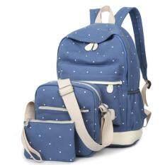กระเป๋านักเรียนลายจุด 3in1 (สีฟ้าอ่อน)