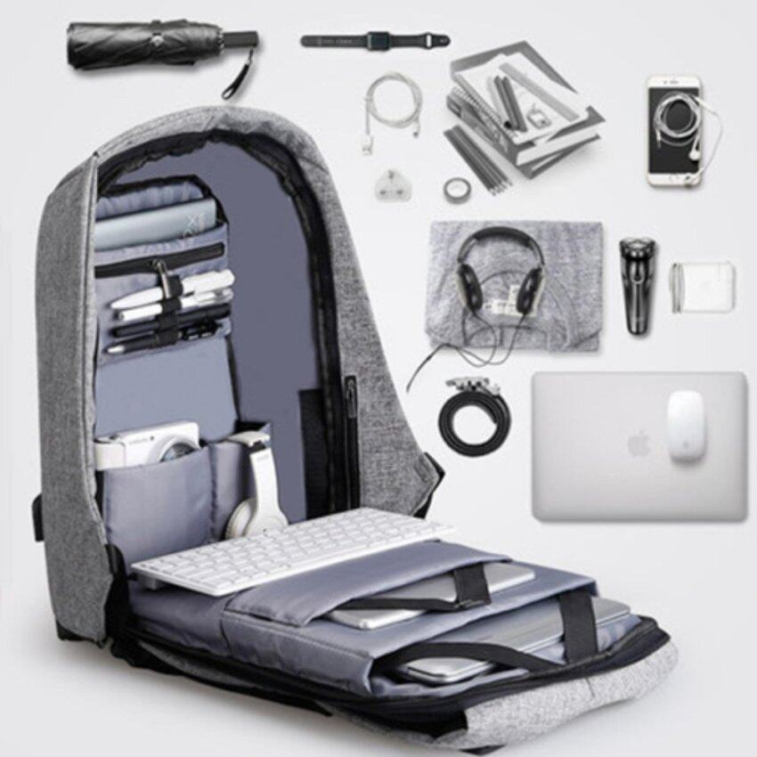 Leisure Canvas Anti-theft Unisex Men and Women Backpacks Rucksack Business Travel 14inch Laptop Bag Fashion Male School College Bag Daypack with USB Charging Port (Grey) - intl