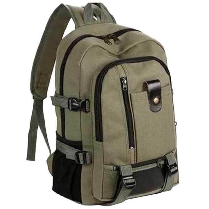 ขาย Man Rewards กระเป๋าสะพายหลังผ้าแคนวาสแบบหนา สำหรับสุภาพบุรุษ รุ่น MB-01 (สีเขียวทหาร) *
