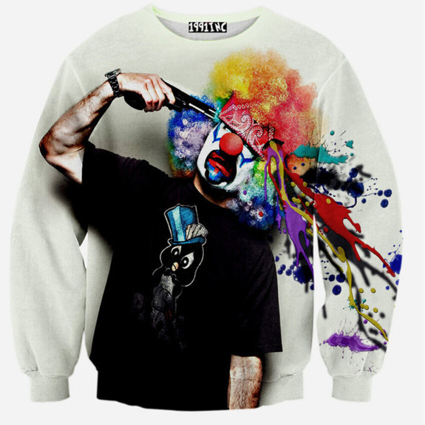 Men 3D Printed Long Sleeve T-shirts Personality Sweatshirts Male Boys Plus size Tops -Funny Cluwn ...