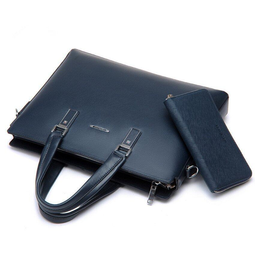 Men Business One Shoulder Handbag Crossbody Grain Briefcase Tote Bag (Blue / Wallet Inside)