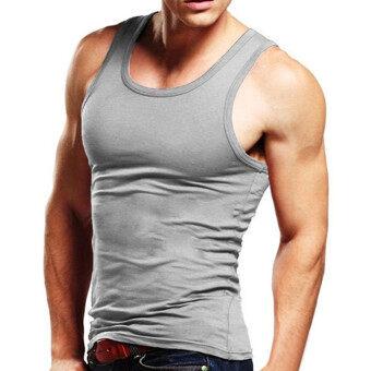 Men Shirts Simple Cotton Men's Sleeveless Vest Based Vest Primer Six Color For Choose (Grey) - intl