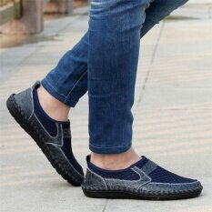 Mens Driving Slip On Loafers Leather Summer Shoes Breathable Mesh Casual Shoes - Intl ราคา 648 บาท(-50%)