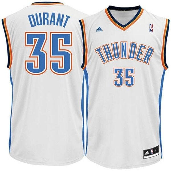 Mens Basketball Jersey Swingman Player #35 Kevin Durant NBA Oklahoma City Thunder Light Breathable Top Authentic White Home S - intl
