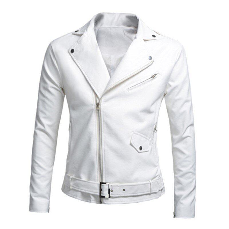 Mens Motorcycle Slim PU Leather Jackets (White) - intl ...