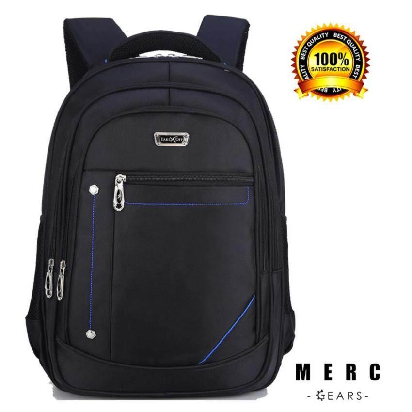 Merc Gears กระเป๋าเป้ กระเป๋าโน้ตบุ๊ค (สีดำ คาดแดง)