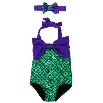 Mermaid Princess Bikini Swim Bathing (Purple+Green)