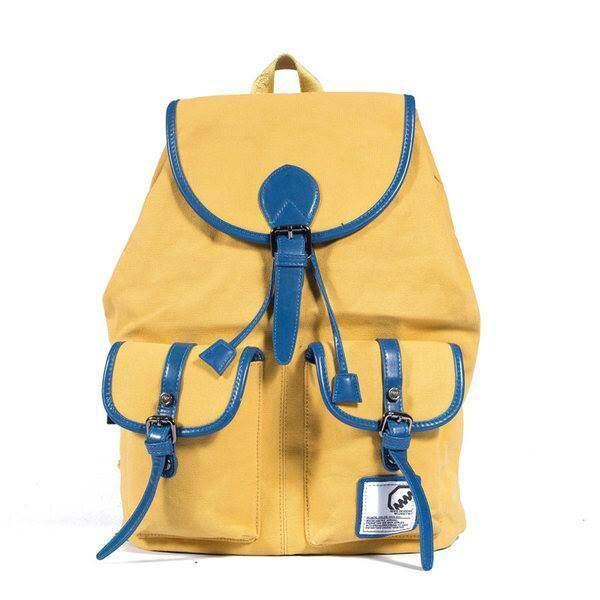 MM กระเป๋าเป้สะพายหลังสไตล์ยุโรป สีชมพูเหลือง - MM0018