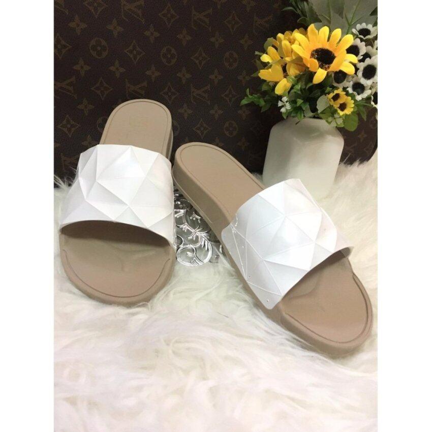 Monobo รองเท้าเเบบสวมใส่สบายเท้า พื้นน้ำตาลคาดขาว