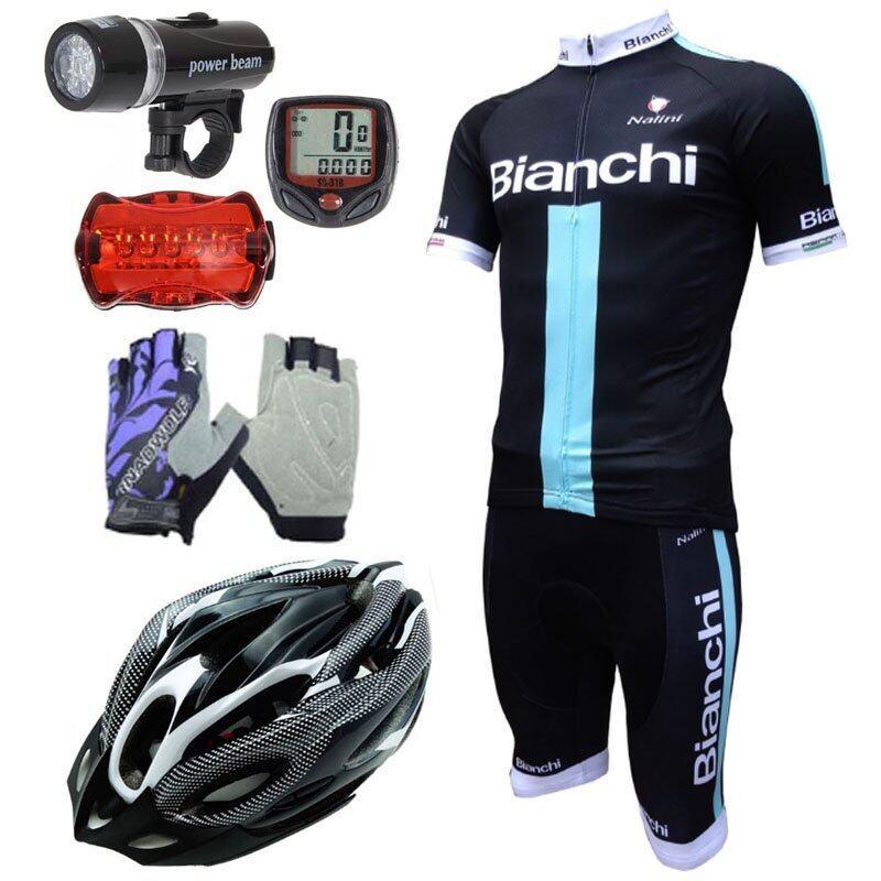 Morning ชุดปั่นจักรยานผู้ชาย Bianchi สีดำ+หมวกจักรยาน สีขาว+ถุงมือฟรีไซด์ สีม่วง+Sunding ไมค์จักรยานสีแดง+ไฟชุดจักรยานรุ่น WJ-101(สีดำ)
