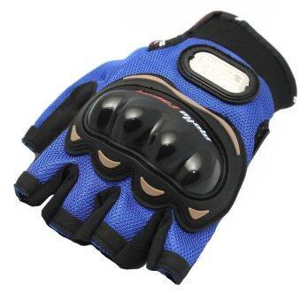 MOTO SPORT ถุงมือ (สีดำ/น้ำเงิน) ไซค์XL