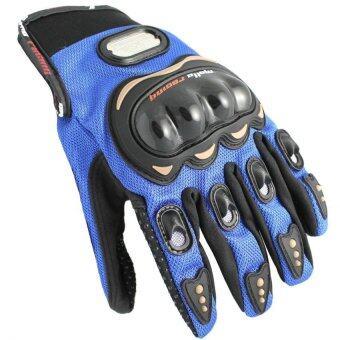 MOTO SPORTถุงมือแบบเต็มนิ้ว(สีดำ/น้ำเงิน)ไซค์XXL