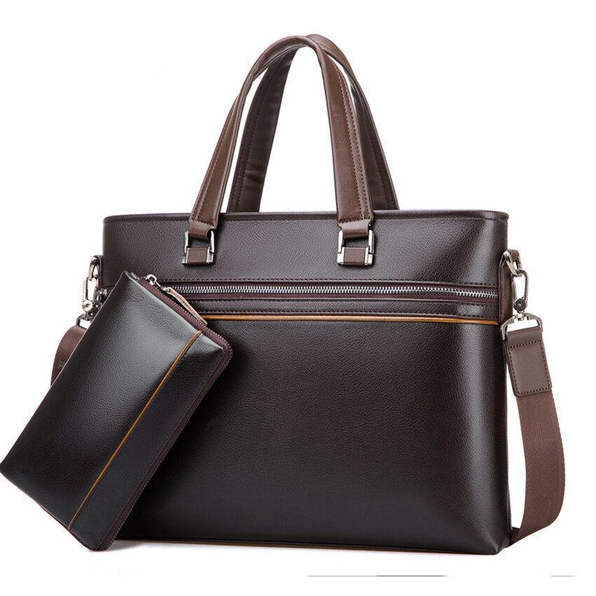 New Men Crossbody Handbag Single Shoulder Bag Large Capacity Business Tote Bag A4 Laptop Bag (Brown / 1 Wallet Inside)
