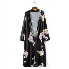 New Retro Women Long Cardigan Kimono Open Front Floral Print 3/4 Sleeve Vintage Outerwear - Intl ราคา 365 บาท(-14%)
