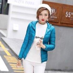 New Winter Autumn Women Duck Down Hooded Jacket Zipper Long Sleeves Slim Light Down Coat - Intl ราคา 706 บาท(-19%)