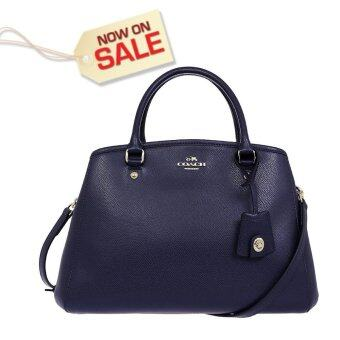 NWT COACH F34607 Midnight Blue SMALL MARGOT CARRYALL IN LEATHER(มีรูปสินค้าจริง)