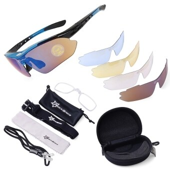 Polarized Cycling Sports Sunglasses with 5 Pairs of Lenses (Blue)