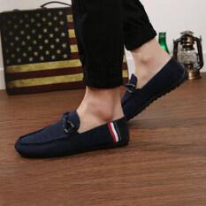 รองเท้าลำลองรองเท้าหนังผู้ชายรองเท้าลำลองรองเท้าขับสีน้ำเงิน ราคา 592 บาท(-67%)