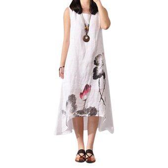 ผ้าฝ้ายผ้าฝ้ายหลวม ๆ ที่หญิงสาวในชุดขาว