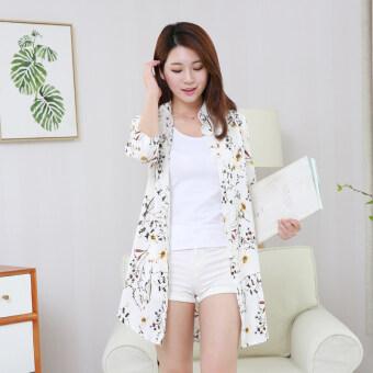 ส่วนยาวของเวตเตอร์ถักผ้าคลุมไหล่เสื้อบางๆเสื้อผ้าป้องกันแสงแดด (ดอกไม้สีขาว)