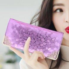 เกาหลีหนังเทียมใหม่หินคลิปกระเป๋าสตางค์ (สีม่วง) ราคา 170 บาท