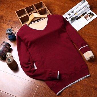 บวกกำมะหยี่นักเรียนคอวีเสื้อกันหนาวผู้ชายเสื้อกันหนาว (คอกลมรุ่นสีเทาอ่อน)