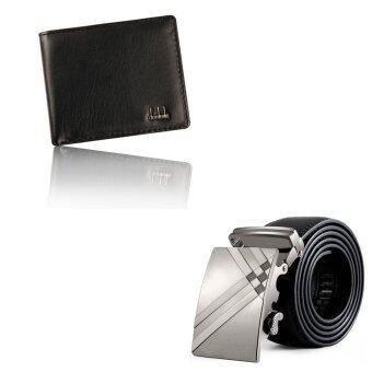 กระเป๋าสตางค์แฟชั่นเครื่องหนังธุรกิจคนพับครึ่ง และรัดเข็มขัดรัดเอวแบบหนังชุดสีดำ