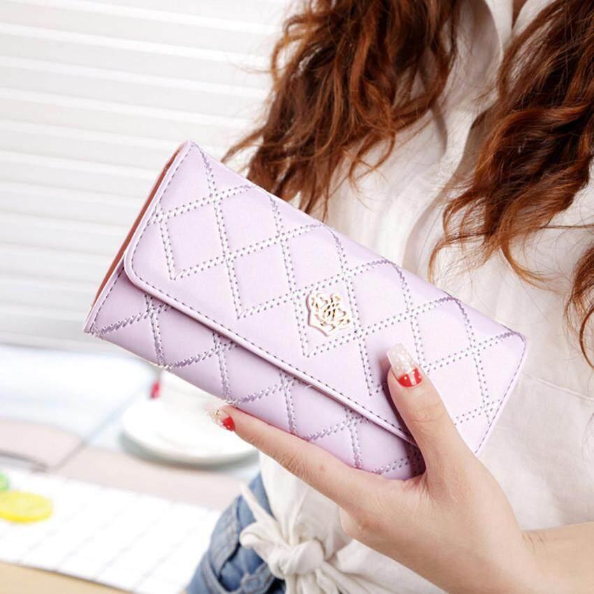Promotions Lady Women Clutch Long Purse Leather Wallet Card Holder Handbag Bags Purple - intl