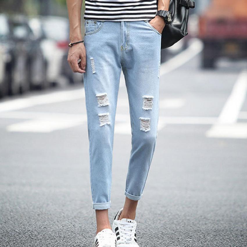 Pudding Light colored break hole jeans Light blue - intl