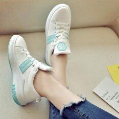 รองเท้าผ้าใบแฟชั่นผู้หญิงสไตล์เกาหลี 8808 สีขาวฟ้า