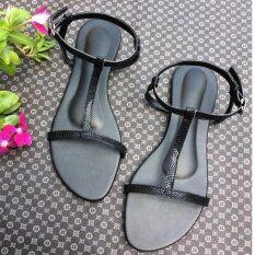 รองเท้ารัดส้นตัว T รุ่นลายงูสีดำ
