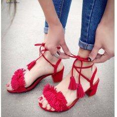 รองเท้าส้นตันแฟชั่นแบบผูกเชือกแต่งพู่(สีแดง)