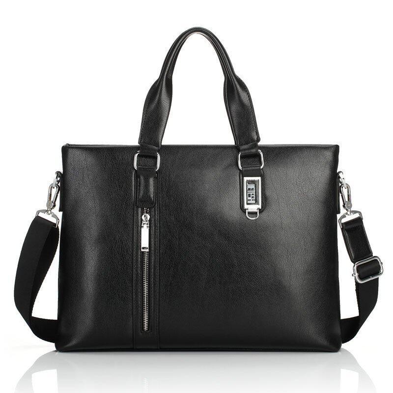 RayNathan Hot Sale Transverse Portable Briefcase Computer Laptop Inclined Shoulder Bag Businiess Tote Leather Handbag (Black)