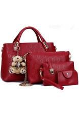 RockLife กระเป๋าแฟชั่นเกาหลี + กระเป๋าสตางค์ผู้หญิง + กระเป๋าสะพายข้าง + พวงกุญแจหมี เซ็ต 4 ใบ (แดง)