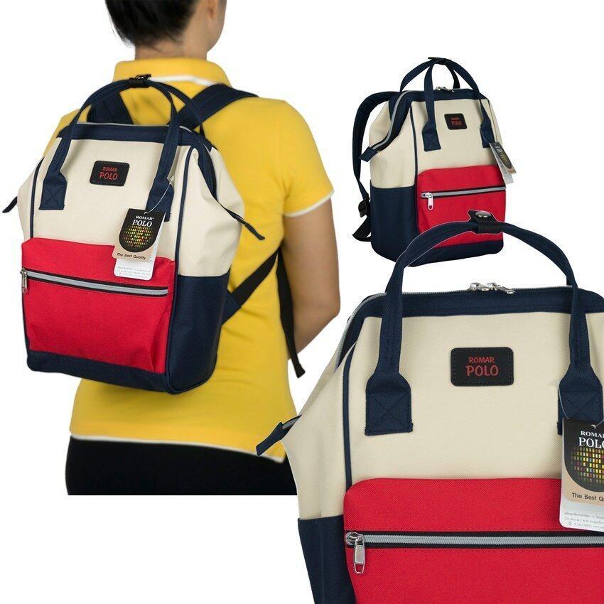 Romar Polo กระเป๋า กระเป๋าสะพายหลัง Backpack 14 นิ้ว รุ่น 69214 (Tricolur Red)