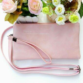 กระเป๋าสตางค์ใบใหญ่ กระเป๋าเงินผู้หญิง กระเป๋าแฟชั่่น สะพายข้างได้ S2-006BIG (สีชมพู)