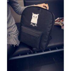 [SAKI] กระเป๋าเป้ลายน้องแมว - สีดำ