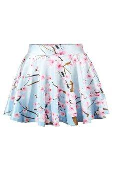 Sanwood Women's High Waist Pleated Peach Blossom Mini Skirt Dress Blue - Intl